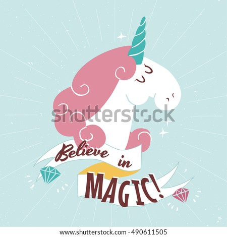 Head of cute white Unicorn on blue background vector illustration. #490611505