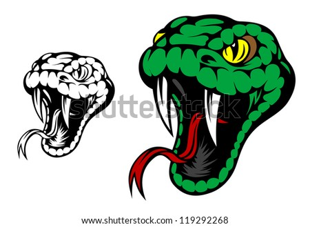 Head of danger aggressive snake for mascot design. Jpeg version also available in gallery