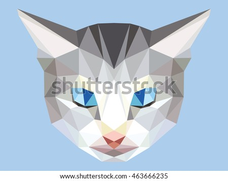 head of gray cat low polygon