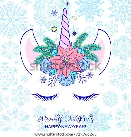 Head of hand drawn unicorn with floral wreath on white background.Vector illustration.