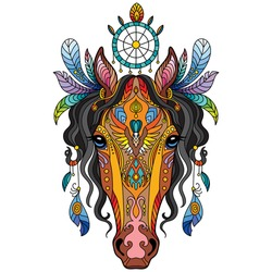 Head of horse with doodle and zentangle elements. Abstract vector colorful illustration isolated on white background. For design, print, decor, tattoo, t-shirt, puzzle, poster, porcelain and stickers.