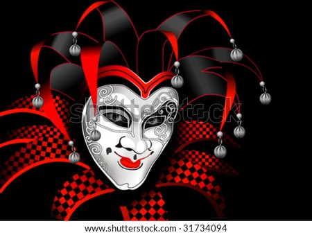 head of jester in a cap with bells on a black background