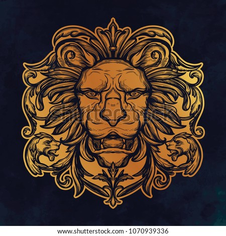 Stock Photo Head of Lion. Isolated vector illustration.