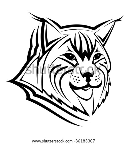 Head of lynx as a mascot isolated on white - abstract emblem or logo template. Jpeg version also available
