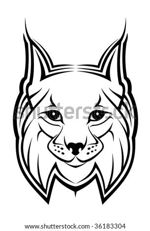 Head of lynx as a mascot isolated on white - abstract emblem or template. Jpeg version also available