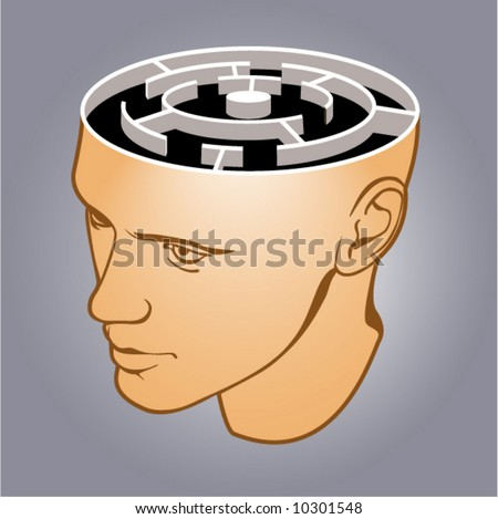 Head of the man with a labyrinth on grey background