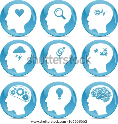 head profile icons with conceptual brain activities