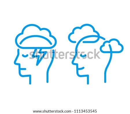 Head profile with storm cloud and clear sky. Mindfulness and stress management in psychology, vector logo illustration. Simple and modern line icon.