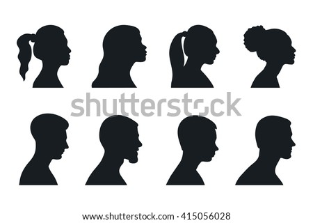head profile woman man silhouette portrait