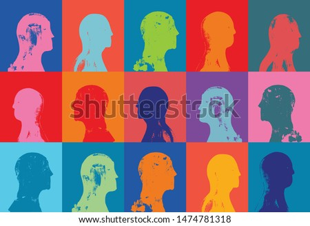 Head profiles pattern, Grunge Texture, Colorful, Community, Race, Humanity,  Humans, People, Citizens, inhabitants, Society, Public, Multicultural, Crowd, Human resources, Diversity, Illustration
