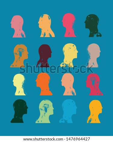 Head profiles pattern, Grunge Texture, Community, Race, Humanity,  Humans, People, Citizens, inhabitants, Society, Public, Health, Multicultural, Crowd, Human resources, Diversity, Vector Illustration