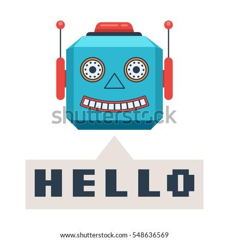 head retro robot smiles and...