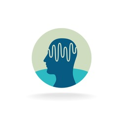 Head scan logo. Brain activity waveform illustration.