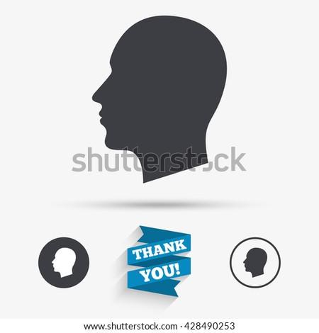 head sign icon male human head