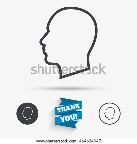 head sign icon male human head