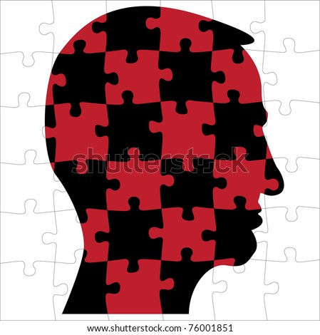 head silhouette from puzzle - illustration