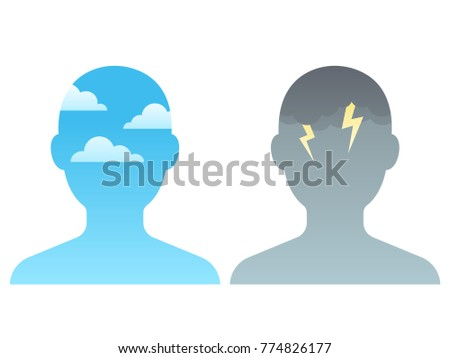 head silhouette with blue sky
