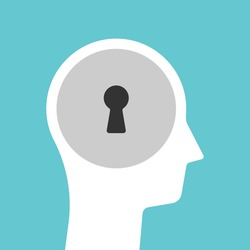 Head silhouette with keyhole of lock. Secret, privacy, fixed mind and psychological defense concept. Flat design. EPS 8 vector illustration, no transparency, no gradients