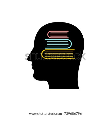 Head silhouette with stack of books inside. Knowledge store in memory symbol. Learning conceptual sign. Education logo. Dictionary brain.