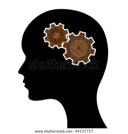 head silhouette with wooden mechanism