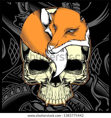 head skull and fox hand drawing vector