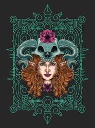 head skull illustration tshirt  design