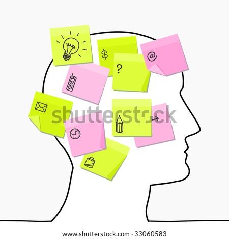 head & sticky notes