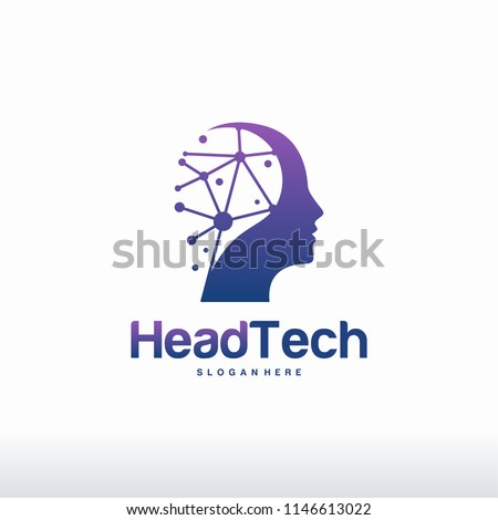 Head Tech logo, Pixel Head logo concept vector, Robotic Technology Logo template designs vector illustration