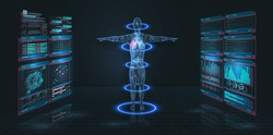 Head Up Display (HUD) UI,GUI for medical app. Futuristic virtual graphic modern Medical HUD Interface. Medical infographic. Hi-Tech, Research of human health. Diagnostic Scan, Digital x-ray human body