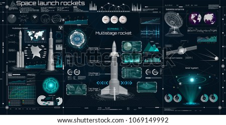Head up display, HUD UI style. Space launch rockets, Big set, space elements (Radars, 3D rockets, Spaceships, Antenna, Satellite and Hologram Solar System) in HUD style. Sky-fi elements set. Vector