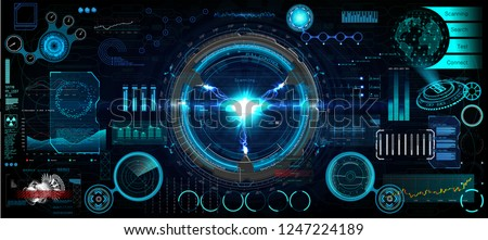 Head-Up Interface set for GUI, UI, UX design. HUD style, Technology elements set (space, dashboard, hologram, spaceship, medicine, finance, analytics) Mechanical scheme HUD electric field. Vector set