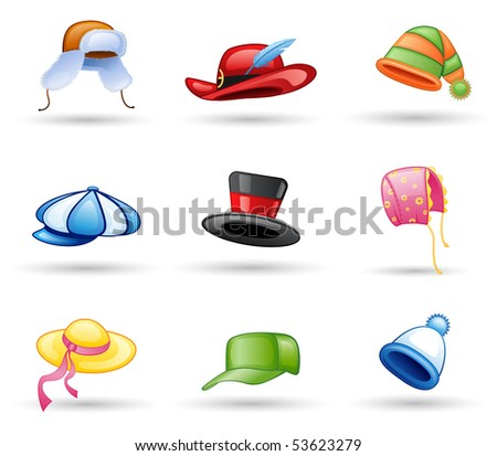 Head wear: cap, hat icon set. Isolated on a white background.