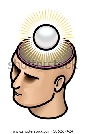 Head with a shining pearl of wisdom.