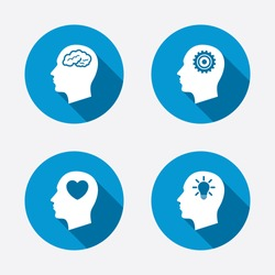 Head with brain and idea lamp bulb icons. Male human think symbols. Cogwheel gears signs. Love heart. Circle concept web buttons. Vector