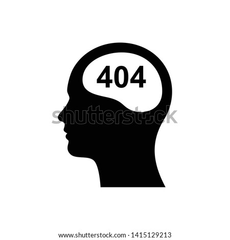 Head with 404 brain icon. brain not found logo.illustration of  stupid, foolish and empty-headed person with lack of intelligence and iq. Сток-фото ©