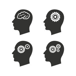 Head with brain icon. Male human think symbols. Cogwheel gears signs. Flat icons on white. Vector