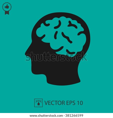 Head with brain vector icon EPS 10. Simple isolated silhouette symbol.