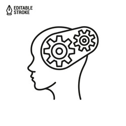 Head with gear icon. Concept of brain work. Cogwheels in the head. Vector outline icon with editable stroke