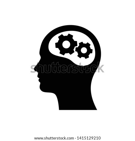 Head with gear icon. Idea logo. Symbols of thinking. illustration of Smart Intelligence and brainstorming.