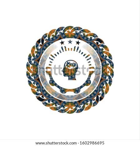 head with gears inside icon inside arabesque emblem. arabic decoration.