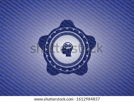 head with gears inside icon inside emblem with jean high quality background