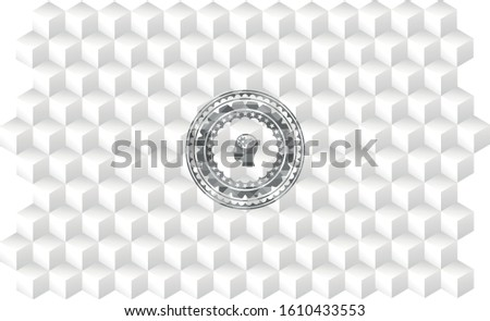 head with gears inside icon inside grey emblem. Vintage with geometric cube white background