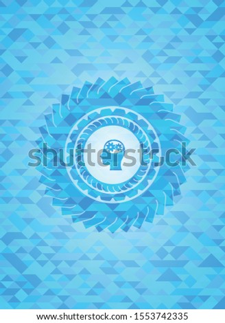 head with gears inside icon inside realistic sky blue emblem. Mosaic background