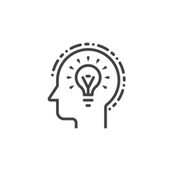 Head with idea light bulb line icon, outline vector logo illustration, linear pictogram isolated on white