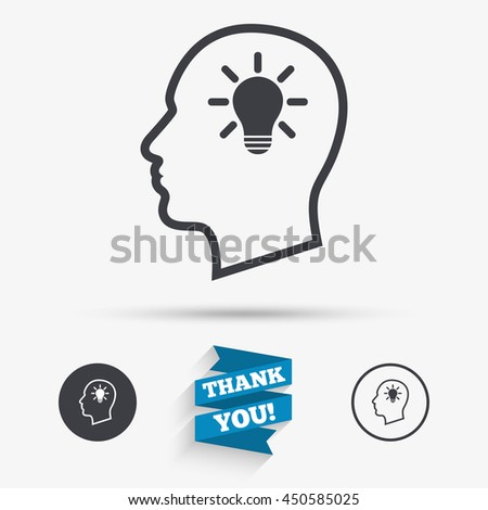 head with lamp bulb sign icon