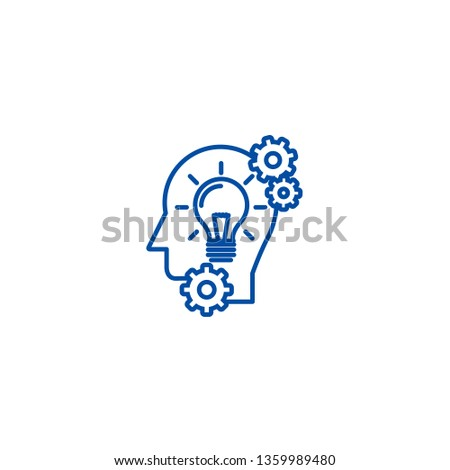 Head with lamp,idea generation line icon concept. Head with lamp,idea generation flat  vector symbol, sign, outline illustration.