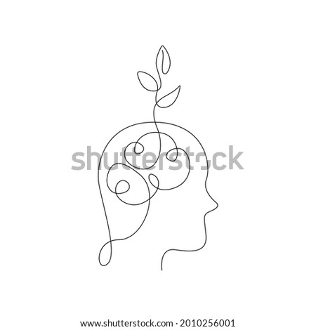 Head with Leaves One Line Art Drawing. Ecology Symbol Minimalist Trendy Contemporary Drawing. Perfect for Wall Art, Prints, Social Media, Posters, Invitations, Branding Design. Vector Illustration Сток-фото ©