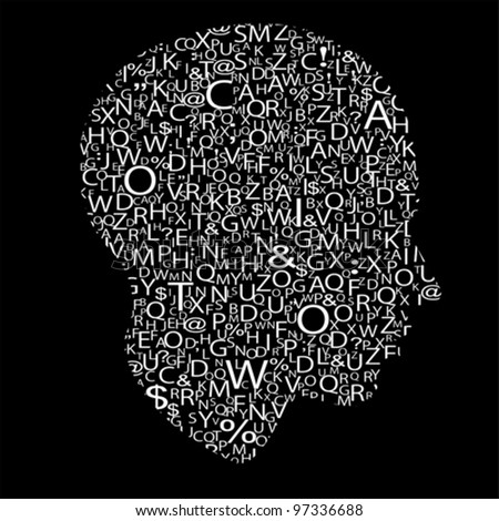 head with letters, vector