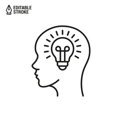 Head with lightbulb icon. Concept of new idea. Idea generation process. Vector outline icon with editable stroke