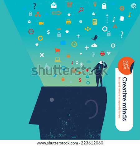 head with many icons vector